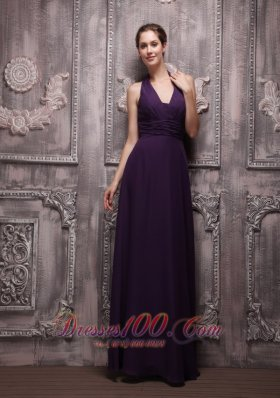 Dark Purple Halter Chiffon Ruch Prom Evening Dress