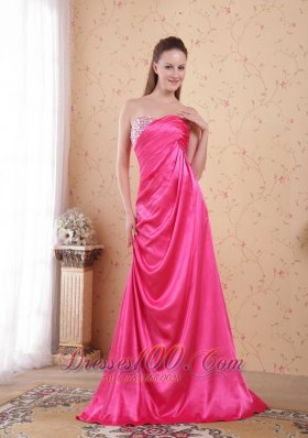 Beaded Ruch Hot Pink Prom Celebrity Dress Train