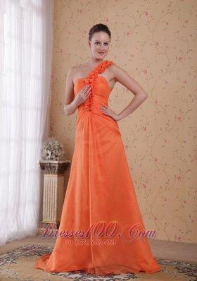 Orange Prom Evening Dress One Shoulder Sweep Train