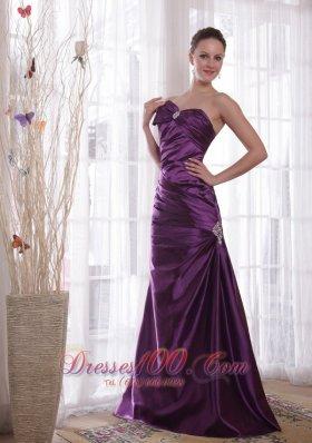 Pleats Purple Prom Evening Dress Sweetheart Taffeta