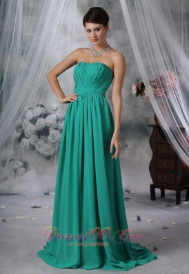 Ruched Brush Train Turquoise Blue Prom Evening Dress