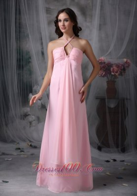 Halter Beaded Baby Pink Prom Evening Dress Chiffon