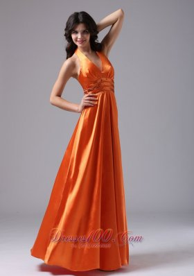 Pailette Halter Orgage Red Evening Dress For Prom
