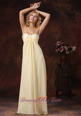 Spaghetti Straps Light Yellow Evening Dress Ruched
