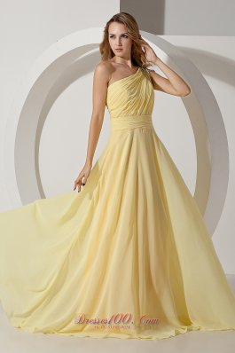 Beaded One Shoulder Light Yellow Prom Evening Dress