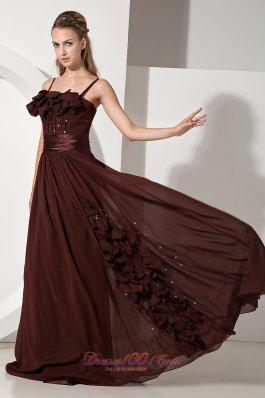 Beaded Brown Junior Prom Evening Dress Chiffon Train