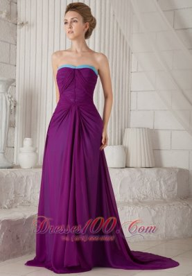 Eggplant Purple Ruched Prom Evening Dress Brush