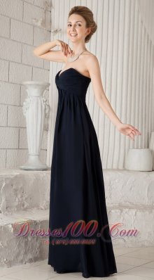 Ruched Chiffon Navy Blue Bridesmaid Dress For Prom