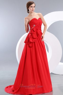 Beading Train Red Prom Evening Dress Ruch Sweetheart