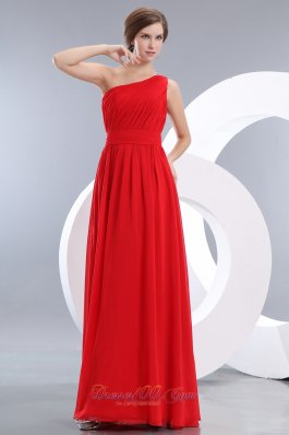 Ruched One Shoulder Red Prom Homecoming Dress Chiffon