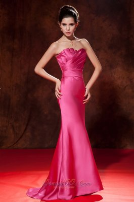 Mermaid Ruched Hot Pink Junior Prom Dress Satin Train