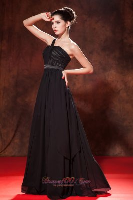 Black One Shoulder Ruched Little Back Dress Chiffon
