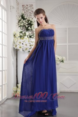 Blue Beading Prom Evening Dress Strapless Train
