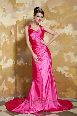 V-neck Beading Hot Pink Prom Evening Dress Train