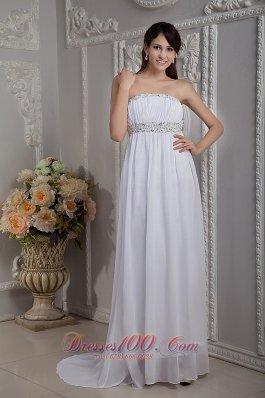 White Prom Graduation Dress Beaded Chiffon Train