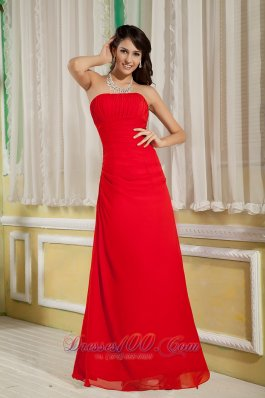 Ruched Red Bridesmaid Dress For Party Strapless Chiffon