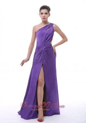 Ruched Shoulder High Slit Purple Prom Evening Dress