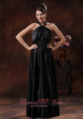 Black Ruch Empire Halter Bridesmiad Dress For Party