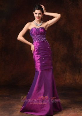 Purple Mermaid Beaded Formal Evening Prom Gowns