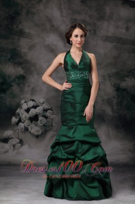 Dark Green Mermaid Halter Prom Evening Dress Beaded