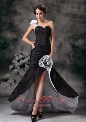 Black One Shoulder Mermaid Prom Homecoming Dress Ruch