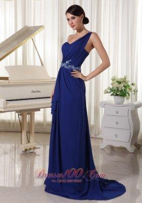 Appliques Royal Blue One Shoulder Prom Evening Dress
