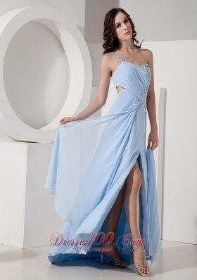 Customize Blue Empire One Shoulder Evening Beading Prom Dress