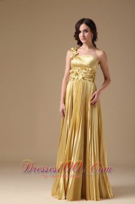 Evening Dress Empire Elastic Satin Hand Made Flowers Pleat