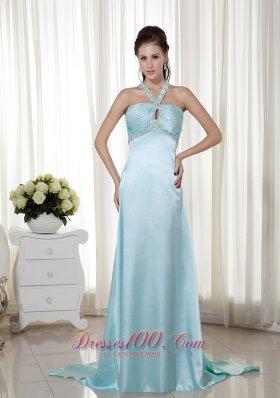 Light Blue Empire Halter Elastic Woven Satin Graduation Dress