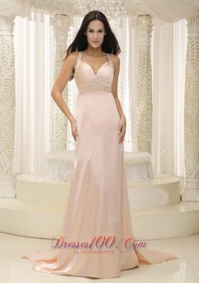 Straps Pink Elastic Woven Satin Ruched Bodice Evening Dress