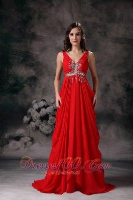 Red Evening Dress A-line V-neck Chiffon Beading Train