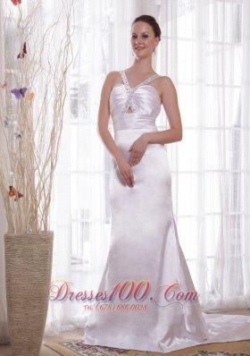 Sheath V-neck Elastic Satin Beading Ruch Prom Evening Dress