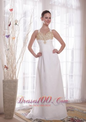White Empire V-neck Chiffon Beading Prom Evening Dress