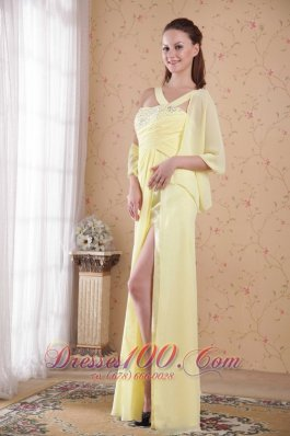 Yellow Empire Floor-length Chiffon Beading Prom Dress