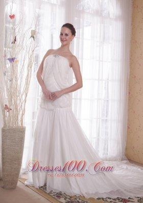 A-line Strapless Chapel Rhinestones Chiffon Prom Dress