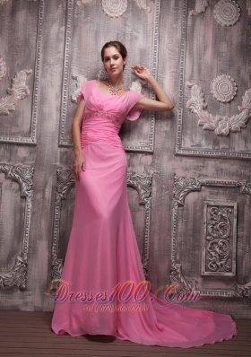 Pink Empire Chiffon Beading Prom / Evening Dress