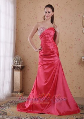 Red A-line Sweetheart Beading Prom Celebrity Dress
