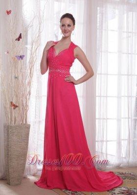 Red Empire Brush Sweep Beading Chiffon Prom Dress
