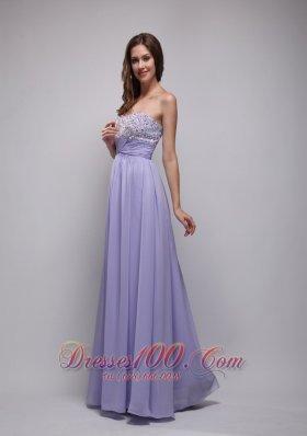 Lilac Empire Strapless Chiffon Beading Prom Dress