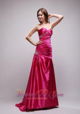 Pink Beading Ruch Evening Dress Column Sweetheart
