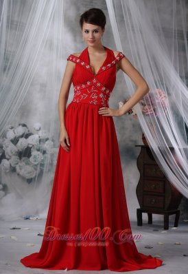 V-neck Beaded Ruched Red Chiffon Prom Evening Dress