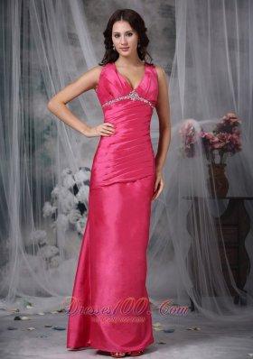 Hot Pink Column V-neck Taffeta Beading Prom Dress