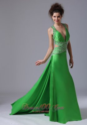Spring Green Column V-neck Taffeta Prom Dress