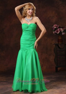 Green Mermaid Sweetheart Prom Dress Ruched Floor-length