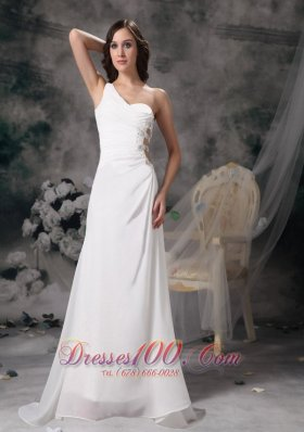 A-line Wedding Dress Chiffon Taffeta Beading Ruch