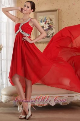 Red Empire One Shoulder Train Chiffon Beading Prom Dress