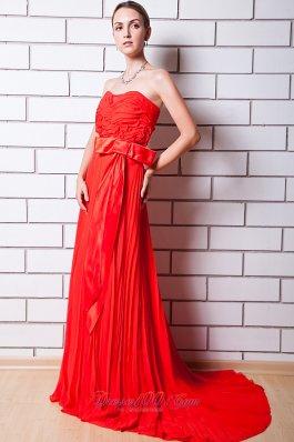 Red Column Strapless Prom Celebrity Dress Chiffon Pleat