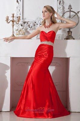 Red Mermaid Sweetheart Beading Prom Pageant Dress Taffeta