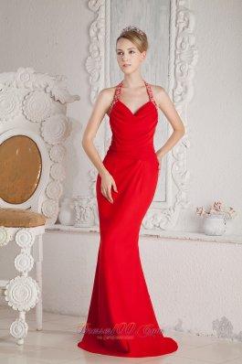 Fashion Mermaid Halter Ruch Beading Prom Dress Chiffon