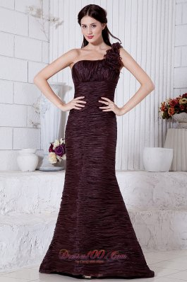 Burgundy Mermaid Prom Evening Dress Floral Brush Train